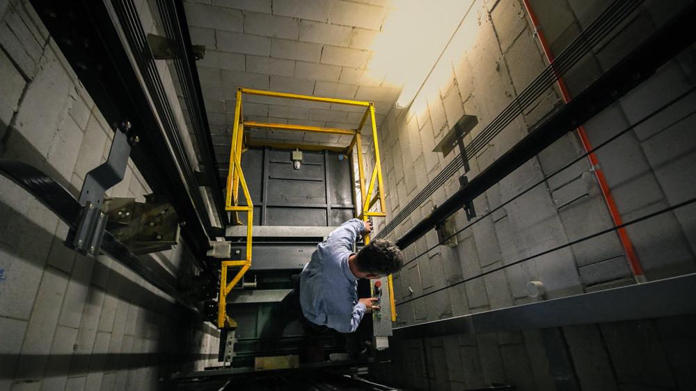 engineer inside lift