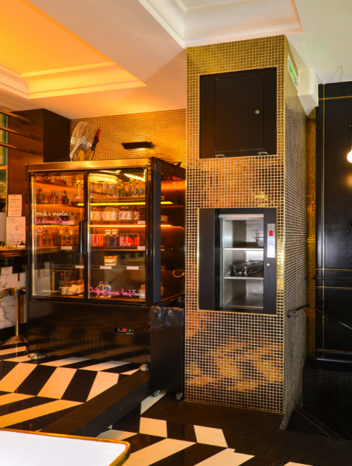 service lift in bar front on