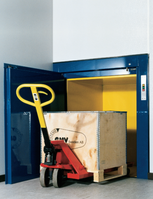 large package being put into service lift