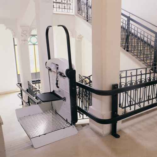 Incline Platform Lift on stairs of apartment